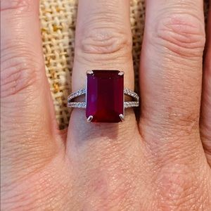 Simulated Ruby & White Sapphire Ring Size 6